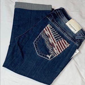 Vigoss Crystal Flag Capri Jeans America